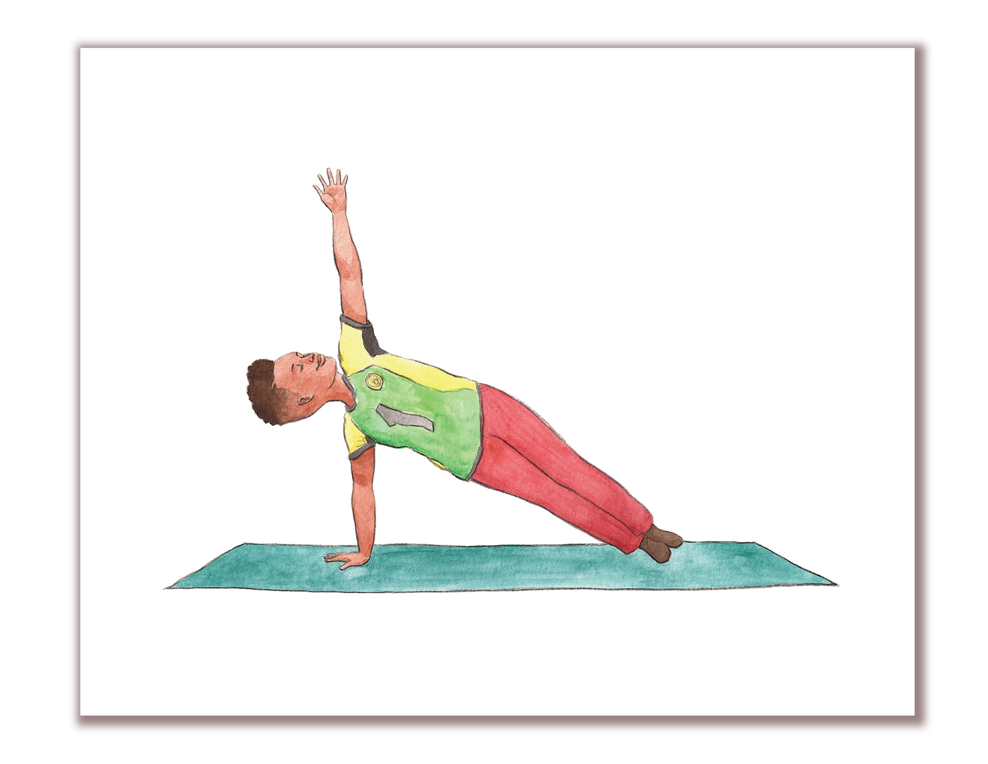 Art Of Robert Liu Trujillo Side Plank Yoga Pose Kid Yoga