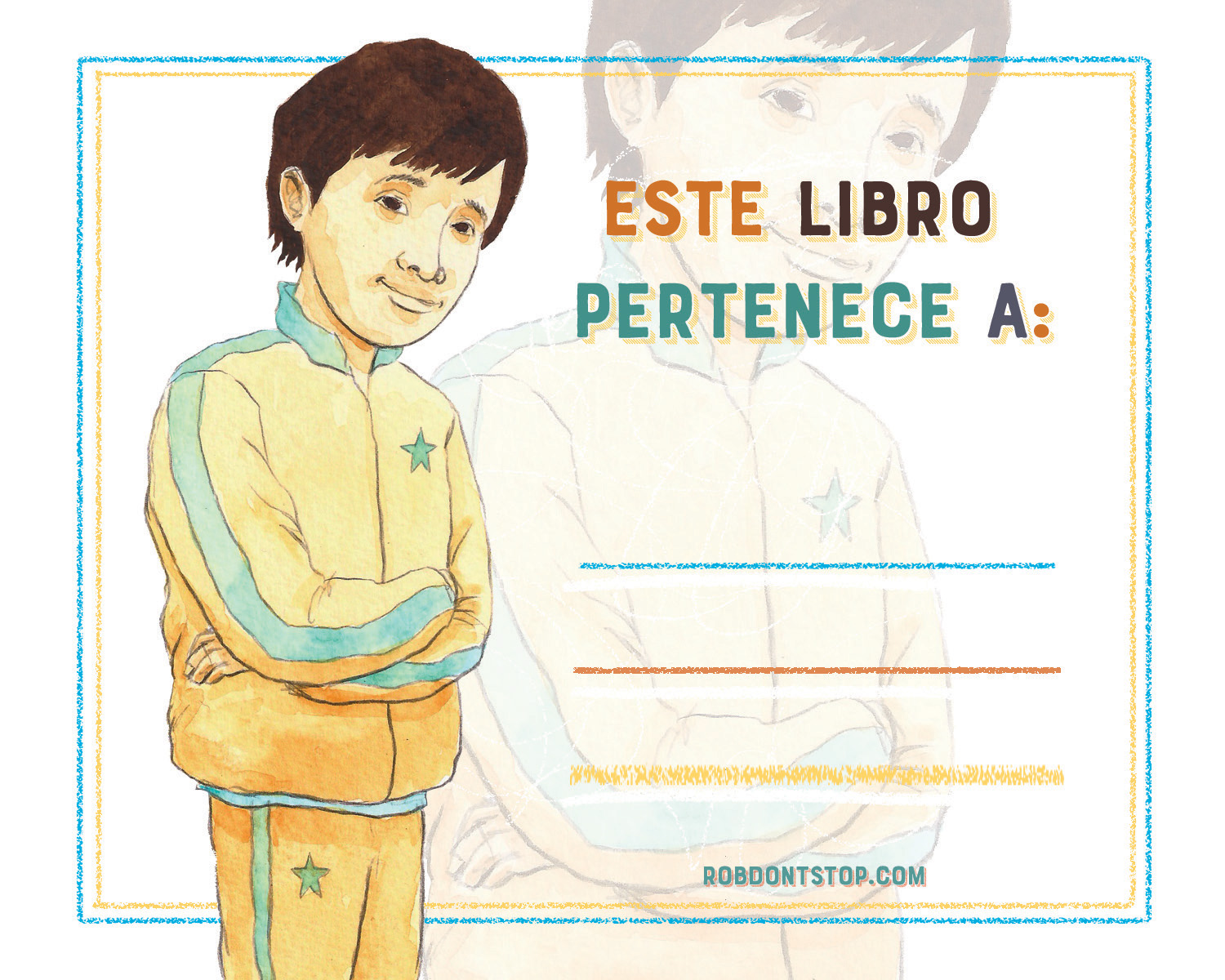 Spanish Bookplate | Brown Boy | Student
